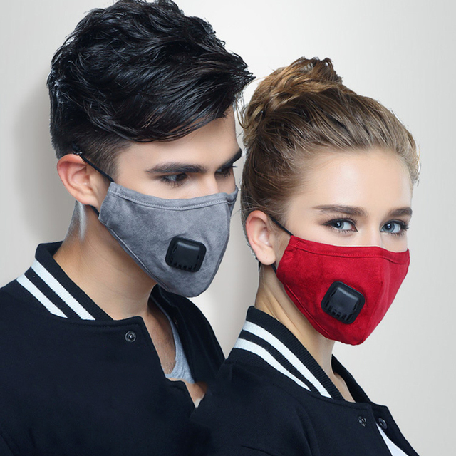 Anti Dust PM2.5 Flu Mouth Mask Filter Respirator Breath Valve Black Masks Cotton Washable  Face masks Man Women 1