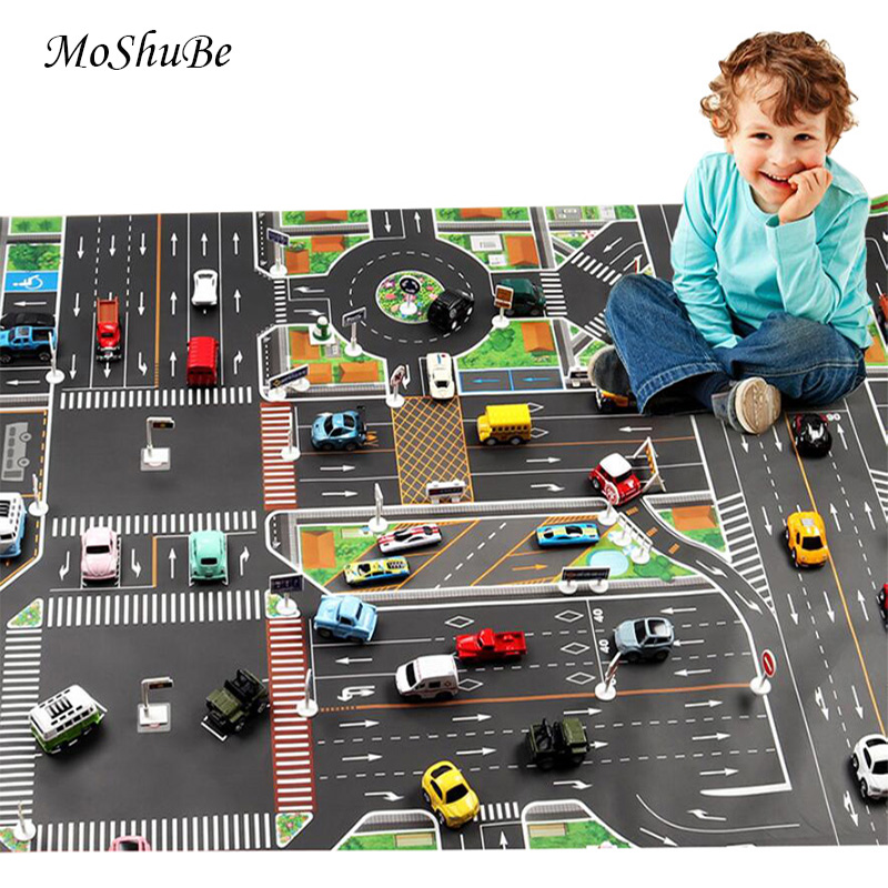 130*100cm Educational Play Mat Teaching Children's Carpet Urban Traffic Route Kids Rug Parking Lot Map Mat Rules Route Game Pad