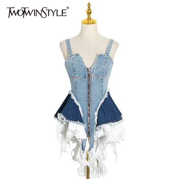 TWOTWINSTYLE Sexy Patchwork Denim Women Tops Square Collar Sleeveless Spaghetti Strap Tunic Mesh Ruffles Hit Color Vests Female - discount item  49% OFF Tops & Tees