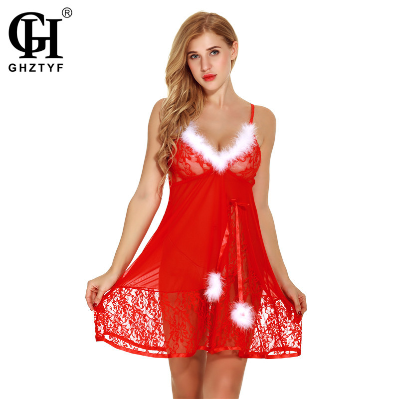 Christmas Erotic Lingerie Babydoll for Women Hot Sale Sexy Plus Size Sex Porno Underwear Dress Cosplay Costume