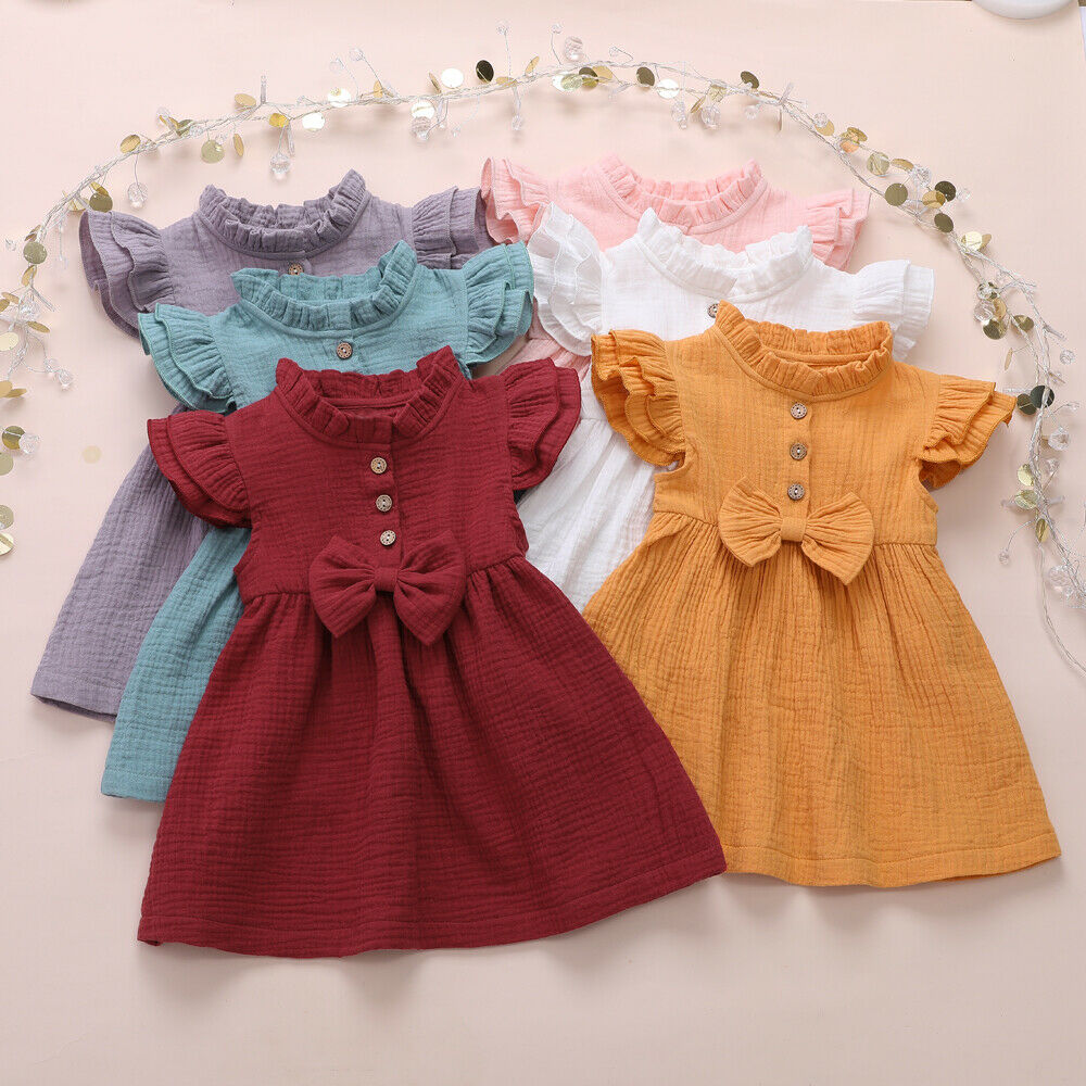 NEW 2020 Toddler Kids Baby Girls Summer Solid Linen Button Ruffle Short Sleeves Cute Bow Princess Dress Party Dress