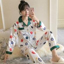 BabYoung jedwabne piżamy damskie nowe letnie z długim rękawem kołnierz na dół odzież domowa dwuczęściowy garnitur PJS