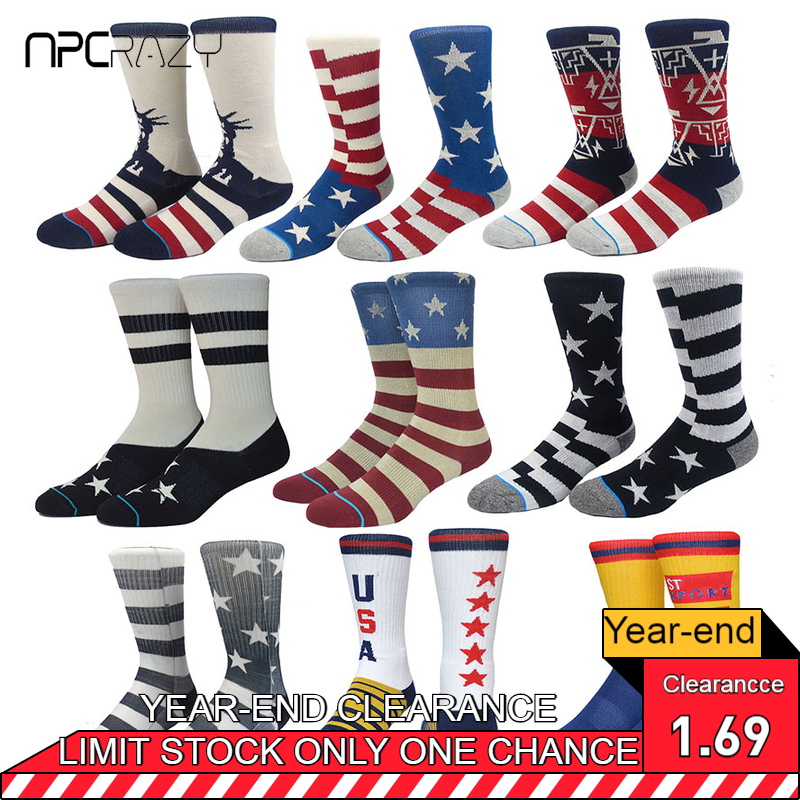 Socks Sport Sock For Men USA Flag Star Skate Socks High Quality Basketball Sock Boneless Straight Sox Bike Meias Outdoor Sport