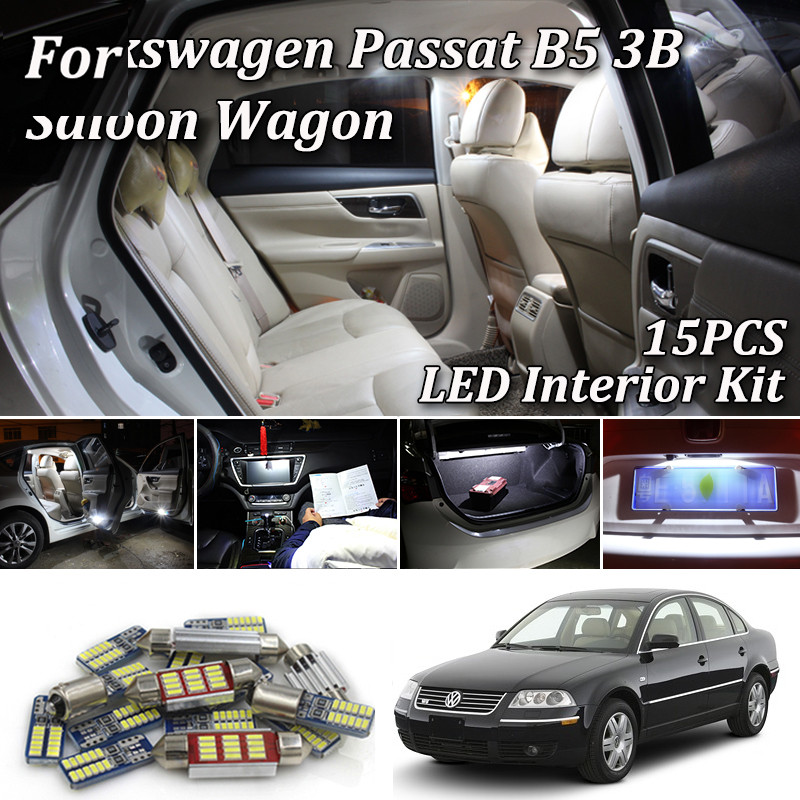 15X Canbus White <font><b>LED</b></font> <font><b>Light</b></font> Interior Kit For Volkswagen <font><b>VW</b></font> <font><b>Passat</b></font> <font><b>B5</b></font> 3B <font><b>LED</b></font> Interior <font><b>Light</b></font> 1997-2005 image