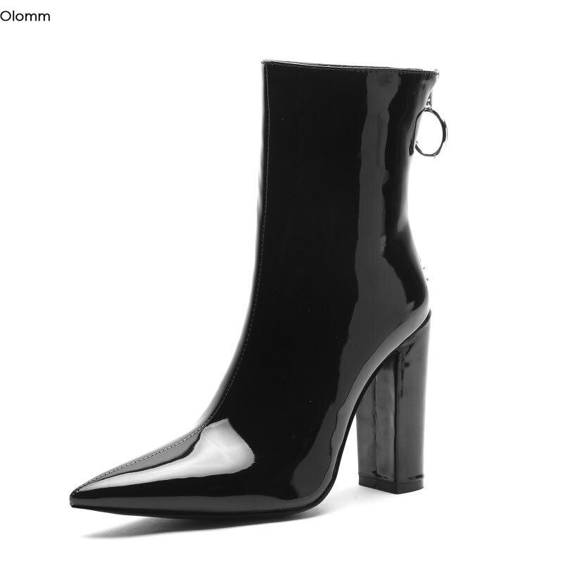 Olomm Handmade Women Winter Ankle Boots