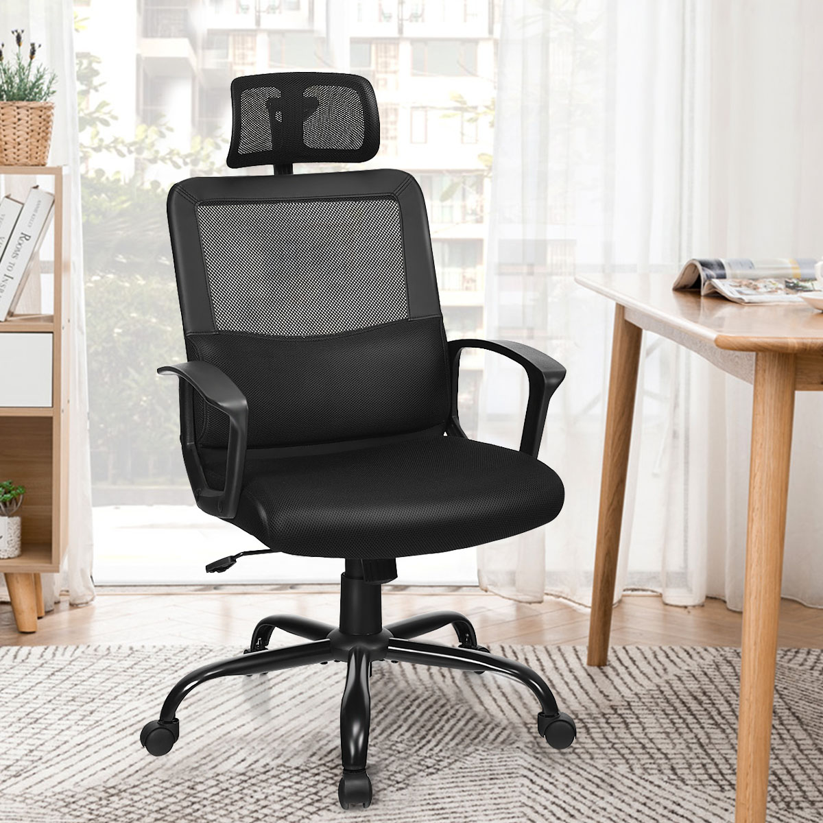 Costway Mesh Office Chair High Back Ergonomic Swivel Chair W/ Lumbar Support & Headrest