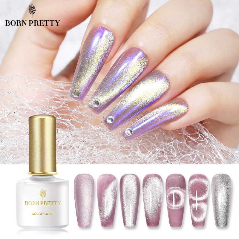 Lahir Cukup Magnetic Gel Polandia Perak Snowlight Semi Transparan 6ML Rendam Off Gel Cat Eye UV LED Kuku gel untuk Manicuring DIY