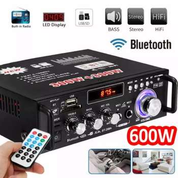 600W Home Amplifiers Audio bluetooth Amplifier Subwoofer support USD SD HiFi Radio With 2 Mic Professional tiancoolkei wl01 a professional professional headphone amplifier hifi bass phone headset audio amplifier