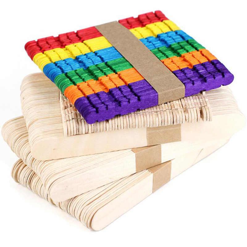 Bâtonnets à glace en bois, 50 pièces/lot, bâtonnets à glace Pop Popsicle en bois naturel, outils à gâteau, bricolage, artisanat pour enfants, jouets, moule à glace