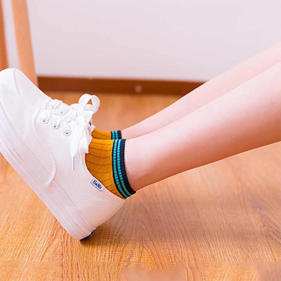 Женские короткие носки полосатые носки с узором Женские повседневные хлопковые Calcetines одноцветные Harajuku винтажные дамские носки 1 упаковка