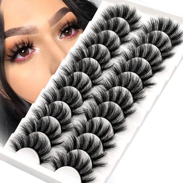 Lashes 5/10 Pairs 3D Faux Mink Lashes Fluffy Soft Wispy Volume Natural long False Eyelashes Eye Lashes Reusable Eyelashs Makeup 1