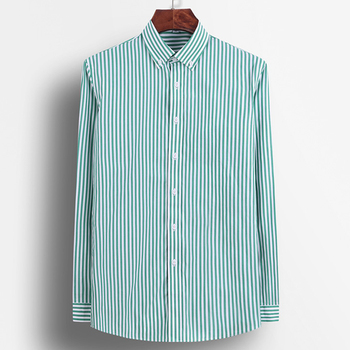 Men's Long Sleeve Standard-fit Pinpoint Striped Dress Shirt Pocket-less Design Casual Button Down Easy-care Cotton Shirts 2