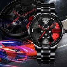 Montre de roue de voiture pour hommes montre de Sport de mode Quartz maille jante Hub montre Quartz montre-bracelet homme horloge Relogio Masculino