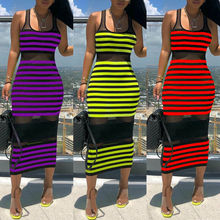 Goocheer Womens Sleeveless Bandage Bodycon Evening Party Cocktail Club Striped Midi Dress