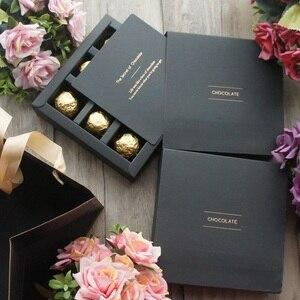 15,5*15,5*4 см 10 комплектов, элегантная коробка для шоколадной бумаги, золотой, черный дизайн, свадьба, Рождество, день рождения, Упаковка конфет
