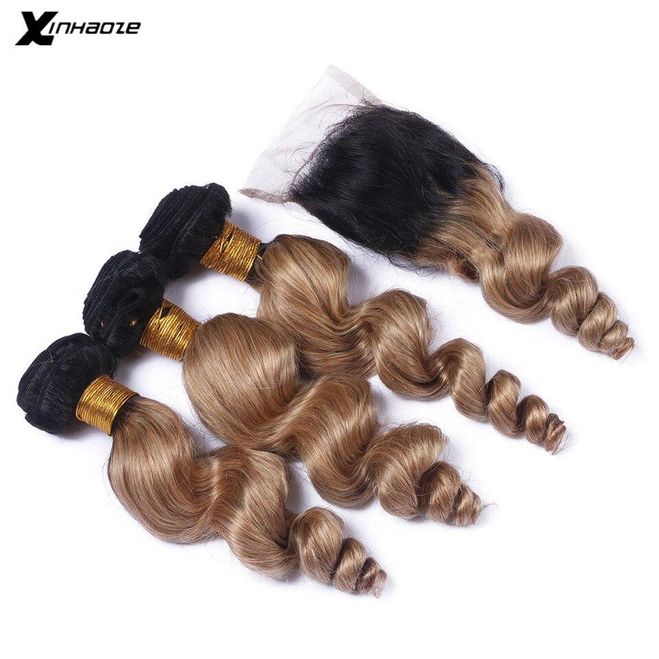 Бразильские свободные волнистые пряди с закрытием 1B 30 Омбре блонд коричневый натуральные кудрявые пучки волос с закрытием не реми волосы
