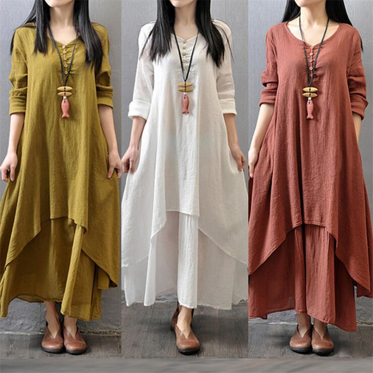 Long Dresses for Women Autumn Fall Long Sleeve Summer Women Linen Dress White Plus Size Maxi Dresses Office Casual Loose Dress