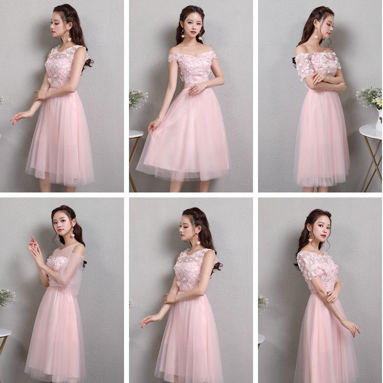 Pink Elegant Burgundy Bridesmaid Dresses Guest Wedding Party Tulle Tea Length Formal Sister Prom Junior Special Occasion Vestido