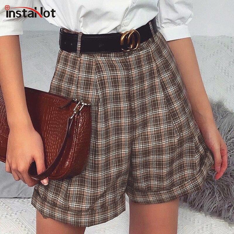 InstaHotVintage Plaid Women Shorts Summer 2020 Holiday Retro High Waist Female Shorts Casua Ladies Pocket Loose Soft Hot Shorts