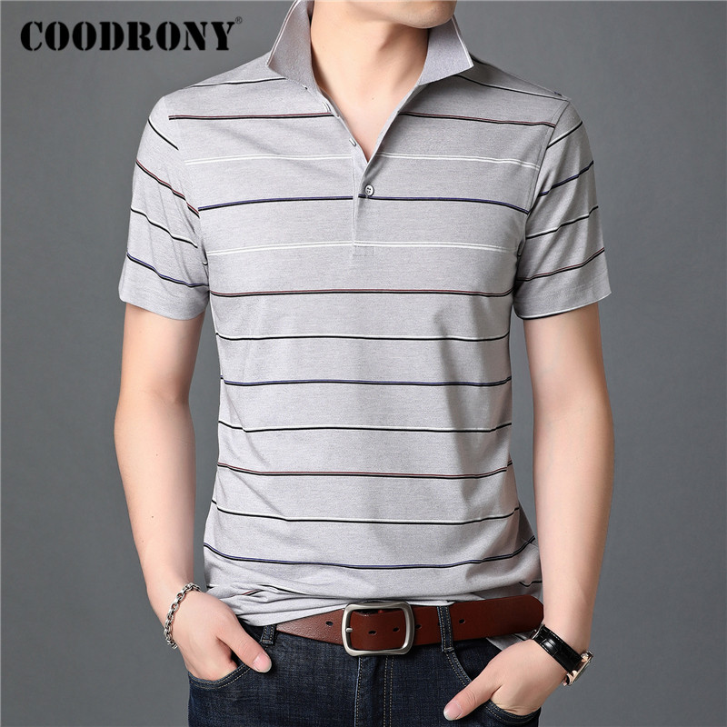 COODRONY T Shirt Men Spring Summer Short Sleeve T-Shirt Business Casual Striped Clothing Turn-down Collar Tee Shirt Homme C5026S