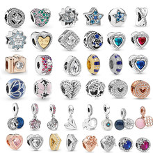 2Pcs/lot Love Heart Camera Star Crystal & Clear CZ Charms Beads Fit Pandora Bracelet & Necklace DIY Women Jewelry Making(China)