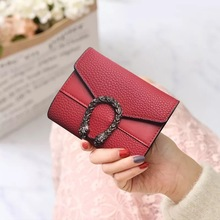 New Women Wallet Short Purse Stitching Small Three fold Handbag Multi-function Multi-card Bag anime wallet  women wallets