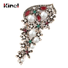 Kinel Big Pearl Crystal Flower Brooch For Women Wedding Rhinestone Leaves Pins Badges Brooch Antique Gold Vintage Jewelry(China)