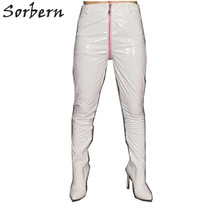 Sorbern White Pant Boots Women High Heel Stilettos Pointy Toes Custom Legs Wide Calf Fit Long Stretched Unisex Catsuit Body Suit(China)