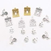 6pcs* I love Paris* Metal Pendant, Romantic Capital Charms, Arc DE Triomphe Charms, Gaul Rooster Charms, Elysee Palace Charms недорого