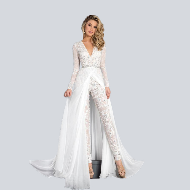Bridal Jumpsuits and wedding pants suits for modern bridal new fashion beach wedding dress