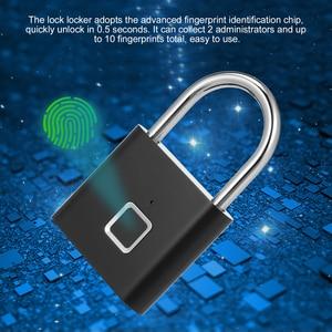 Image 5 - Smart Fingerprint Padlock Lock USB Rechargeable IP65 Waterproof No App Lock indoor and outdoor for Lockers Bags Luggages Storage
