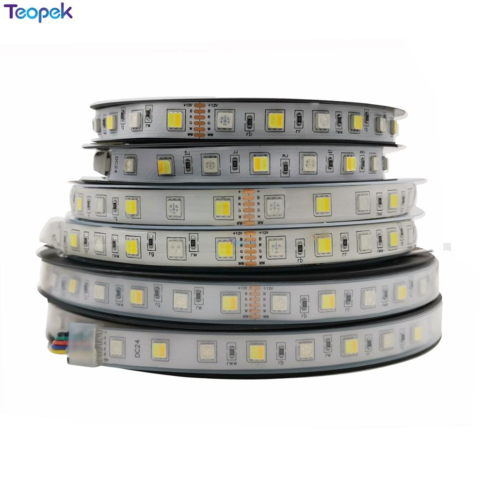 5M 5050 RGB CCT <font><b>LED</b></font> Strip Light RGB+Dual White <font><b>Led</b></font> <font><b>Stripe</b></font> Holiday Decoration <font><b>Led</b></font> Tape Lights 12v/<font><b>24V</b></font> 12MM PCB image