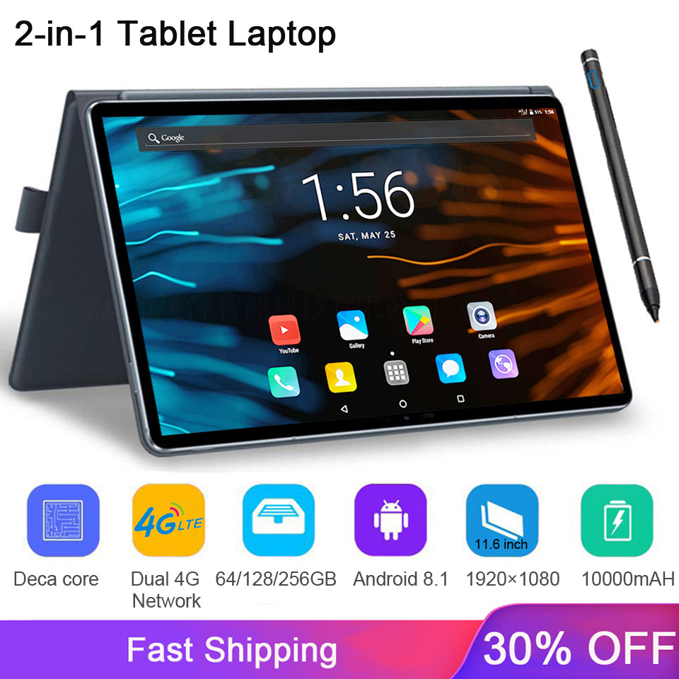 4G LTE 2 In 1 Tablet PC 11.6 Inch Tablet Thin Laptop 1920x1080 Android Tablet With Keyboard Dual SIM Card With Google Store