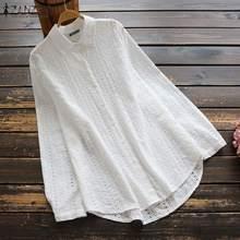 Vintage Embroidery Tops Women's Spring Blouse 2021 ZANZEA Casual Lapel White Blusas Female Button Down Shirts Plus Size Tunic