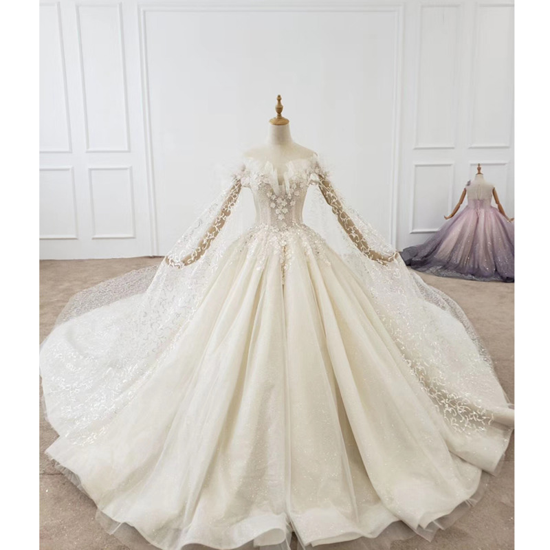 BGW HT41517 Flower Wedding Dress Long Sleeve Vintage Wedding Dress Off The Shoulder Wedding Dress Glitter Vestido De Casamento