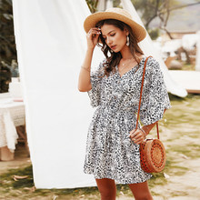 Floral Print Chiffon Summer Dress Women Half Sleeve V-neck Loose Mini Boho Beach Dress Sexy Fashion Women's Sundress Vestidos