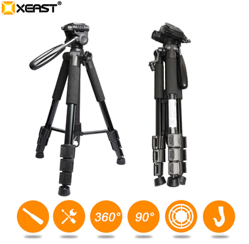 """XEAST Multi-function Travel Camera Tripod 56""""/143cm Adjustable Laser Level Tripod with 3-Way Swivel Pan Head,with Bubble Level"""