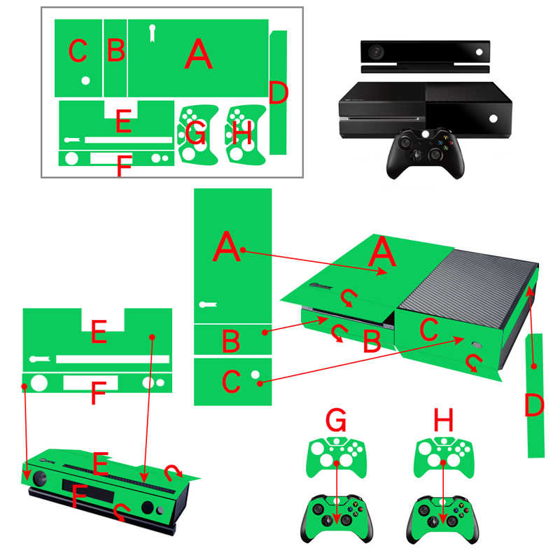 Vinyl Sticker For Xbox One Console Cover Skin For Xbox One + 2 Controller Controle Gameapd Decal Game Accessories