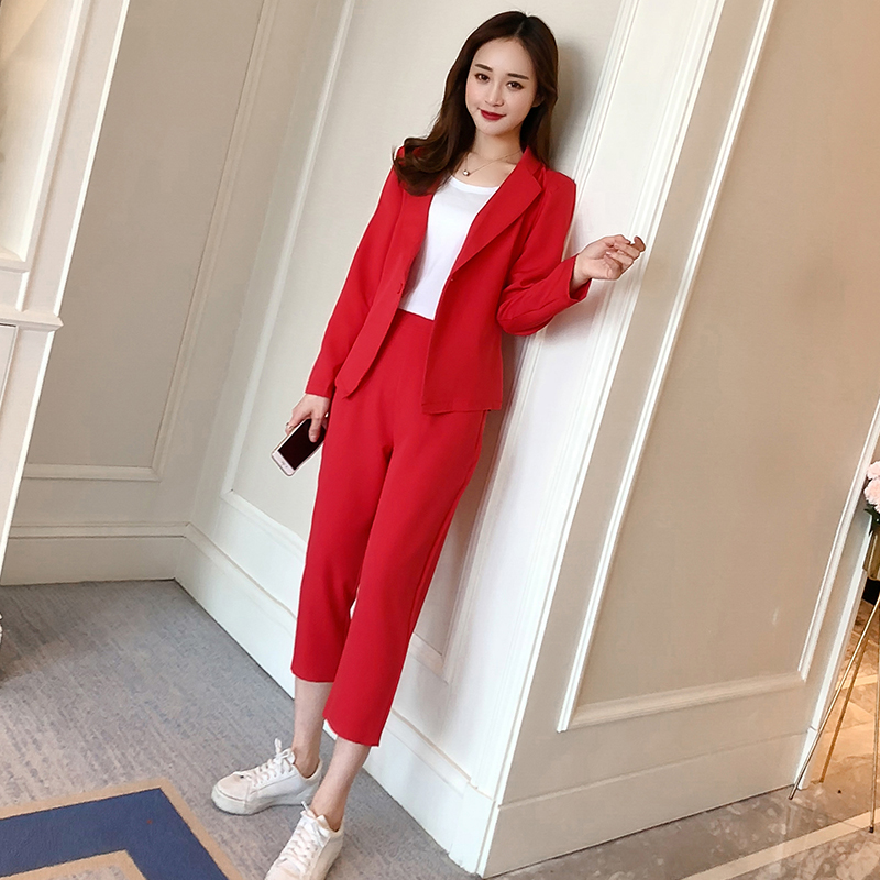 Women Sweat Suit Set 2020 New Fashion Temperament Suit Jacket Pants Office Ladies Profession 2 Piece Sets Womens Outfits