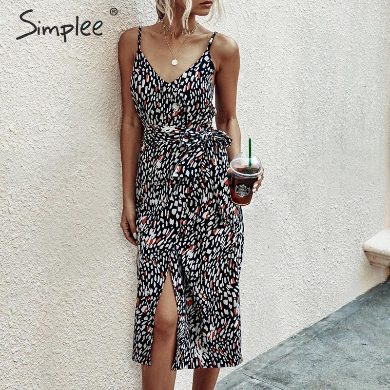 Simplee Sexy Leopard Print Summer Sundress Women Sash Belt Spaghetti Strap Female Midi Dress V-neck Split Ladies Party Dress