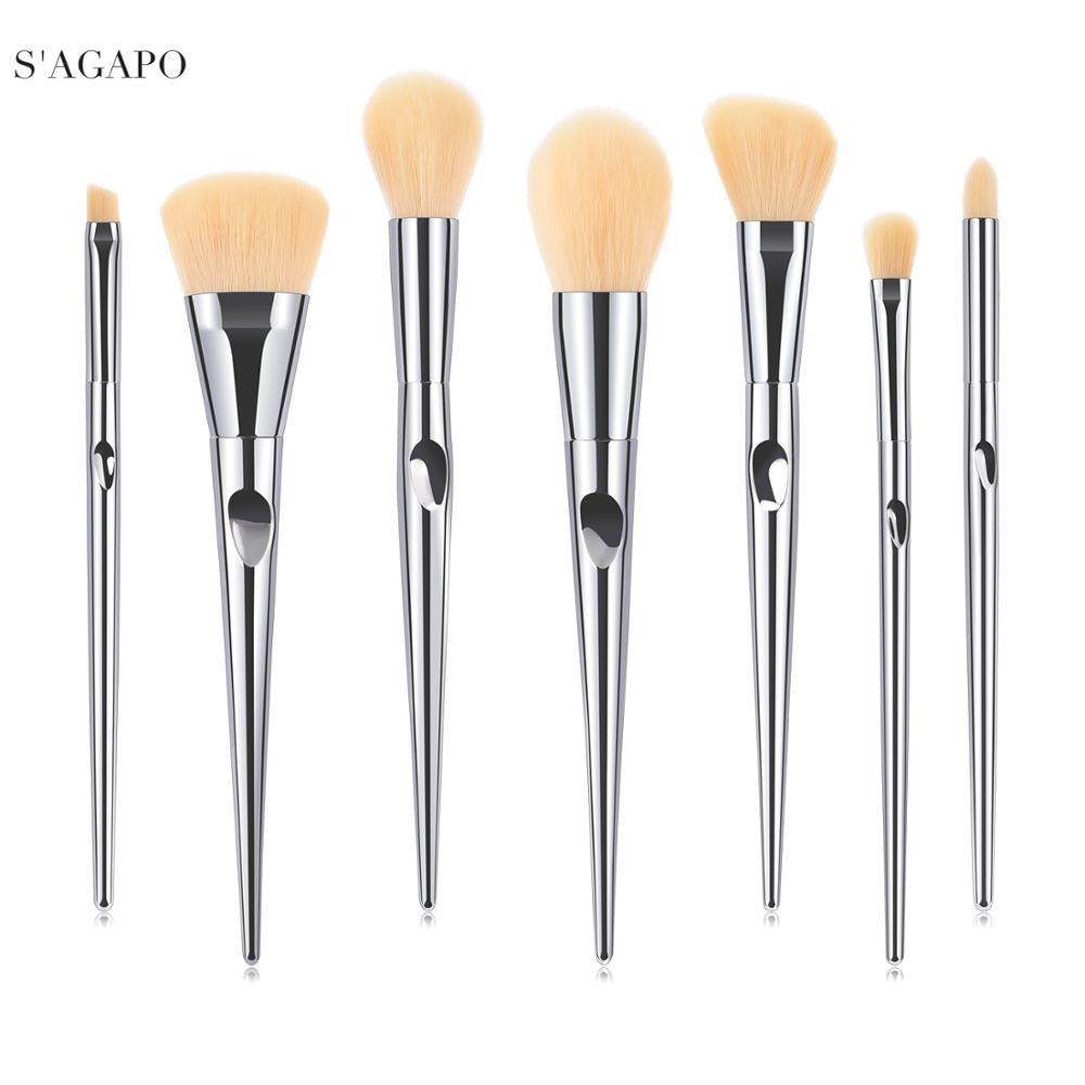 S'AGAPO Silver Heart 7pcs makeup brushes set tool professional loose powder Foundation Eye shadow Eyebrow Blush face Makeup tool