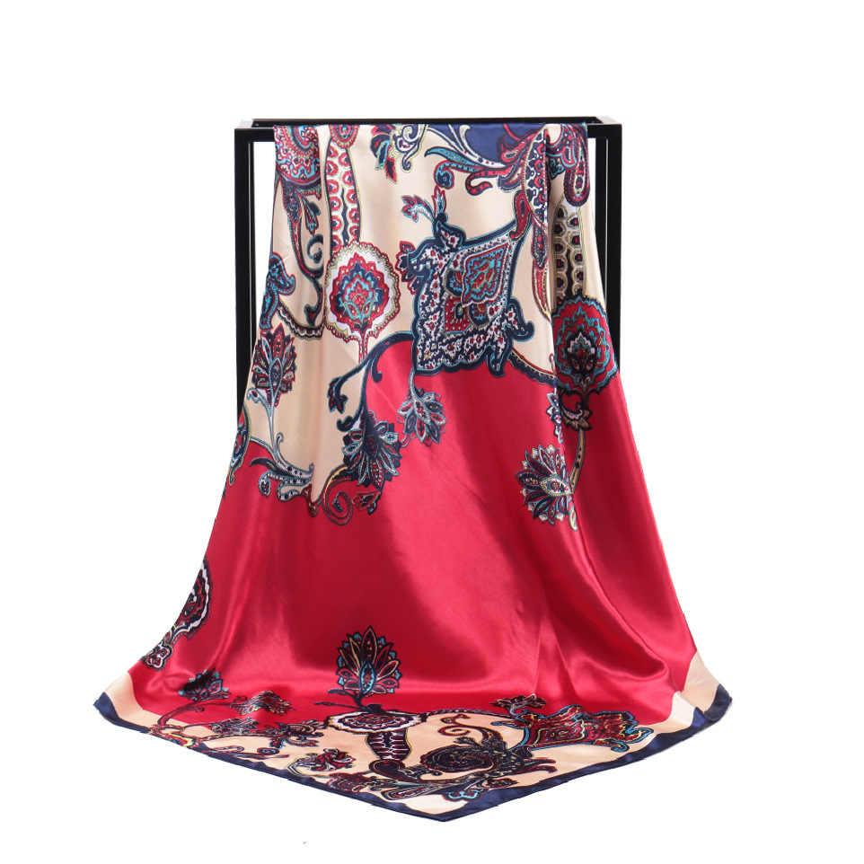 2020 moda yeni bohemian kaju dilimleme bayanlar simülasyon ipek ipek eşarp 90cm x 90cm cömert eşarp müslüman başörtüsü