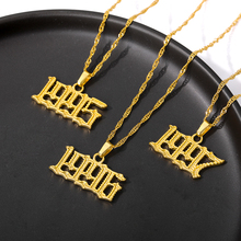 Necklaces Collier Gold-Chain Female Pendant Stainless-Steel Birth-Year Women Old English