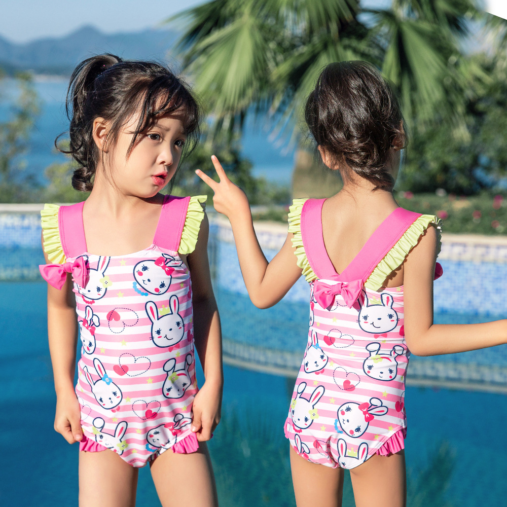 19 New Style Hot Sales One-piece Swimming Suit Send Swimming Cap Cartoon Stripes Flounced Bow Hot Springs Girls KID'S Swimwear