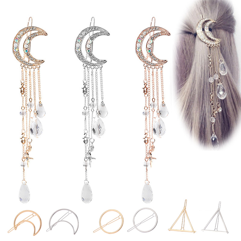 Fashion Women Hair Clip Moon Rhinestone Crystal Pendant Tassel Long Chain Beads Dangle Jewelry Hairpin Elegant Design For Girls