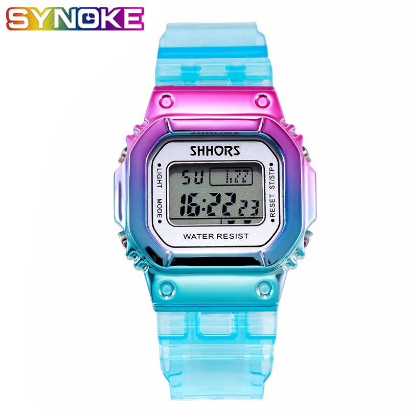 PANARS Colorful Fashion Boys Girls Digital Watches Kids Children's Watches Plastic Kids Waterproof Sports Watch Stopwatch 2019