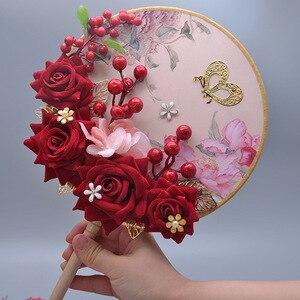 Image 2 - Kyunovia Blush Pink Bridesmaids Rose Gold Bouquet Wine Burgundy Berry Bridal Bouquet Wedding Bouquet Flowers D151