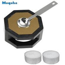 Mogoko Wax Seal Warmer Wax Seal Furnace&Melting Spoon Kit Wax Beads Sticks Melting Tool for Wax Seal Stamp (Wooden Wax Melting)