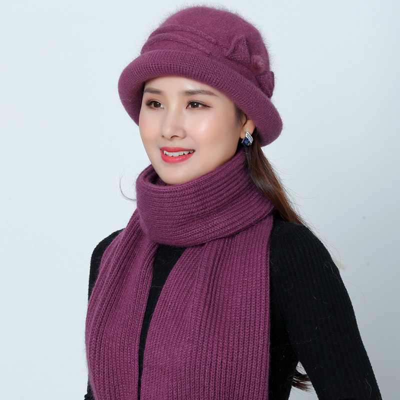 SUOGRY New Winter Female Knitted Solid Color Knitted Scarf And Hats Set Women Thick Warm Beanies Ms Middle Age Mother Limits