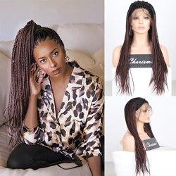 Харизма длинный Омбре темно-коричневый парик свободная часть Плетеный парик Синтетический кружевной передний парик для черных женщин коро...